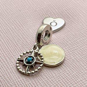 PANDORA Blue Compass Rose Dangle Charm